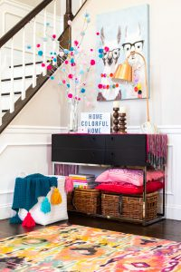 bright colorful area rug