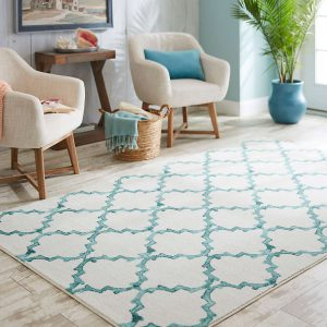 Mohawk Home Surf Fret area rug in Aqua
