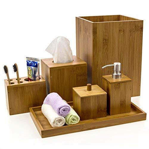 bamboo bathroom accessory set from Amazon