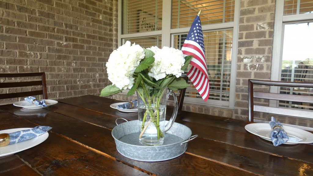 Hydrangeas and American flag centerpiece for July 4th