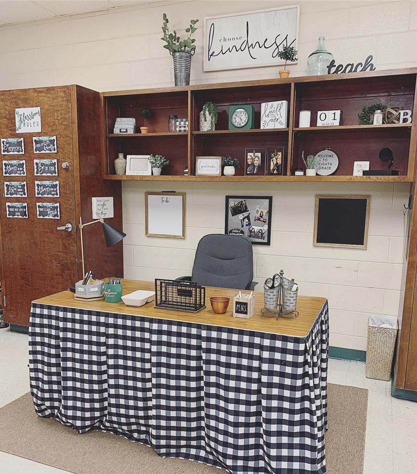 Farmhouse classroom featuring buffalo check table skirt
