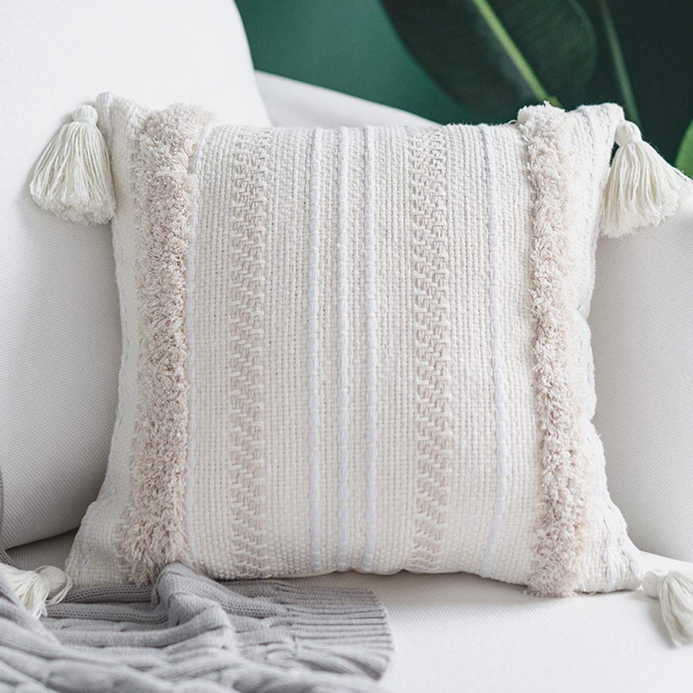 Textured decorative pillow in white from Amazon