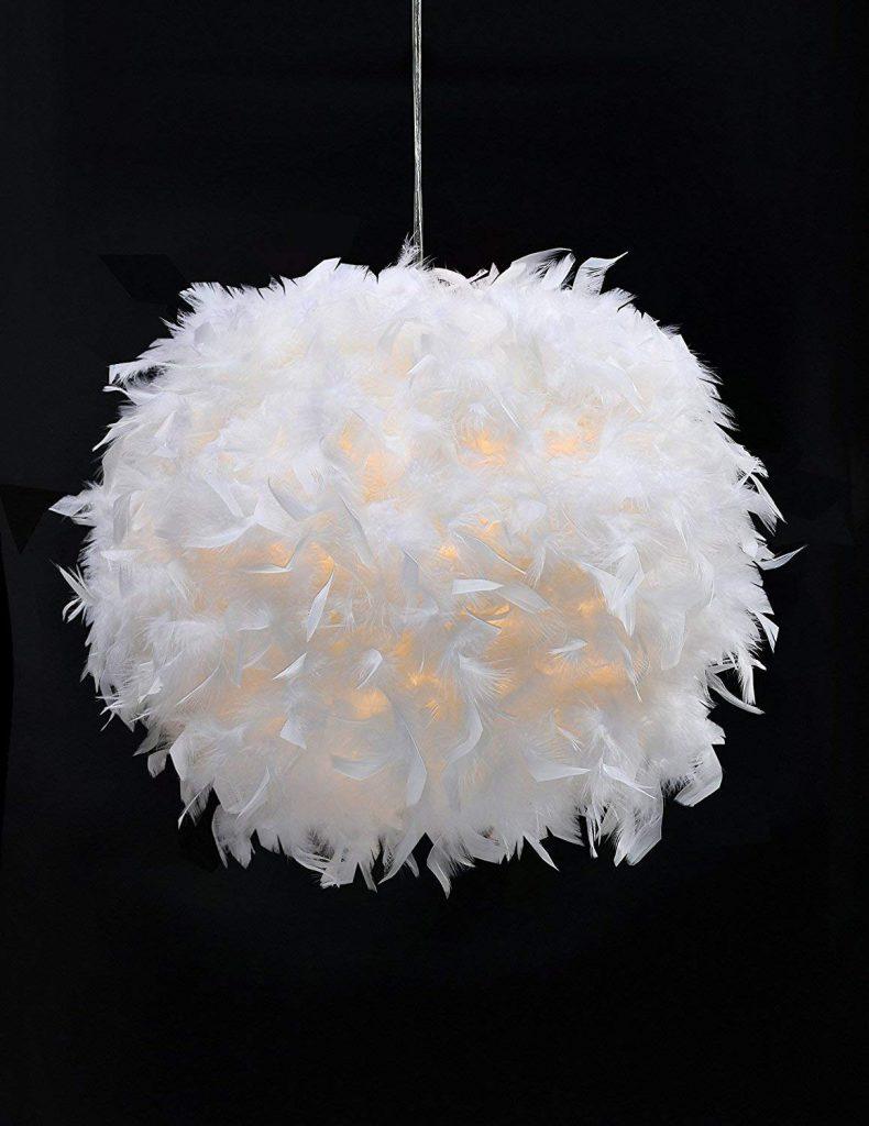 White feather pendant lighting from Amazon