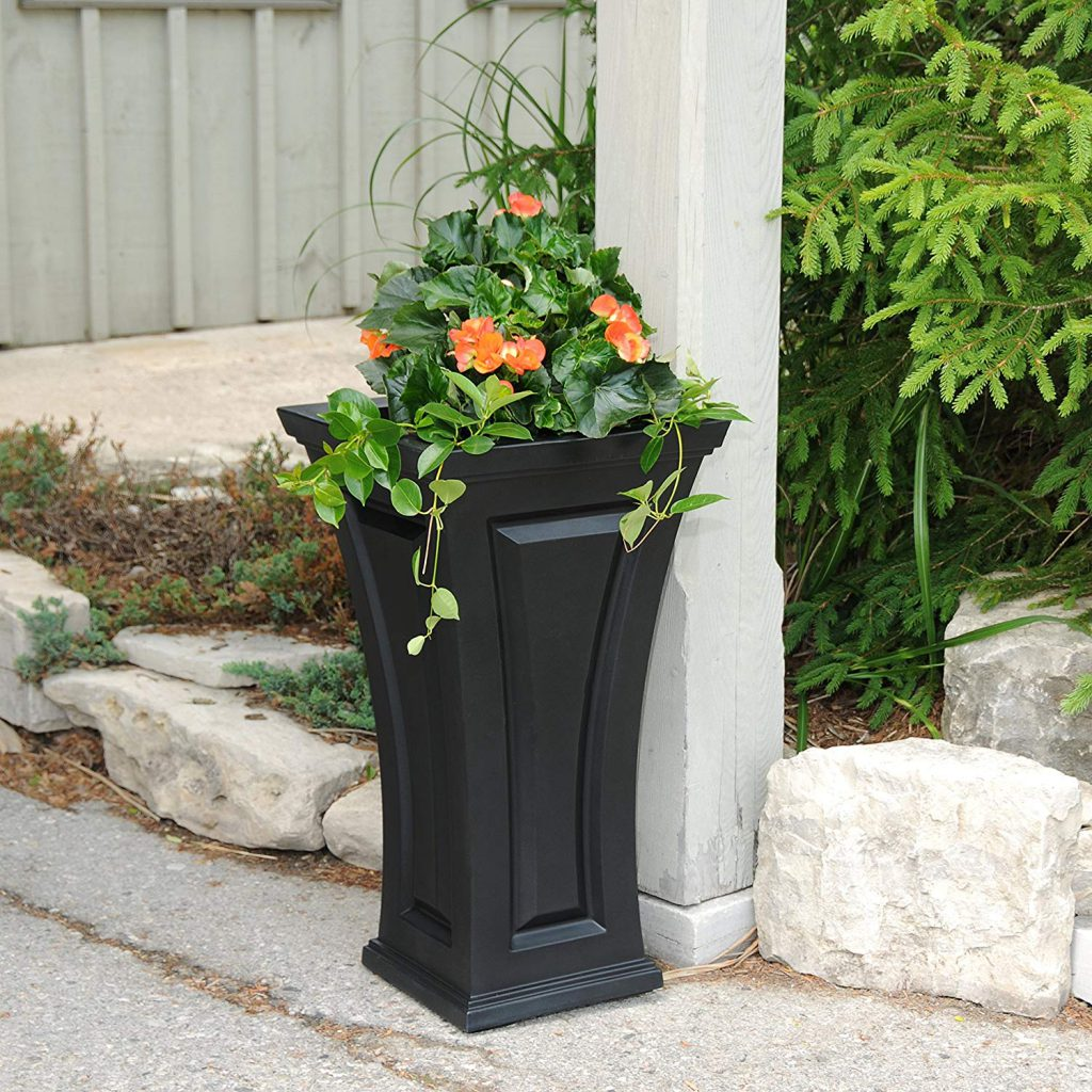 Tall black planter from Bed, Bath and Beyond