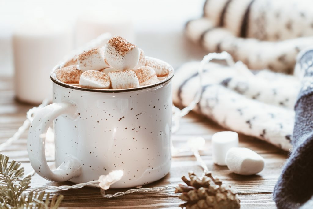 Hot cocoa with marshmallows for the holidays