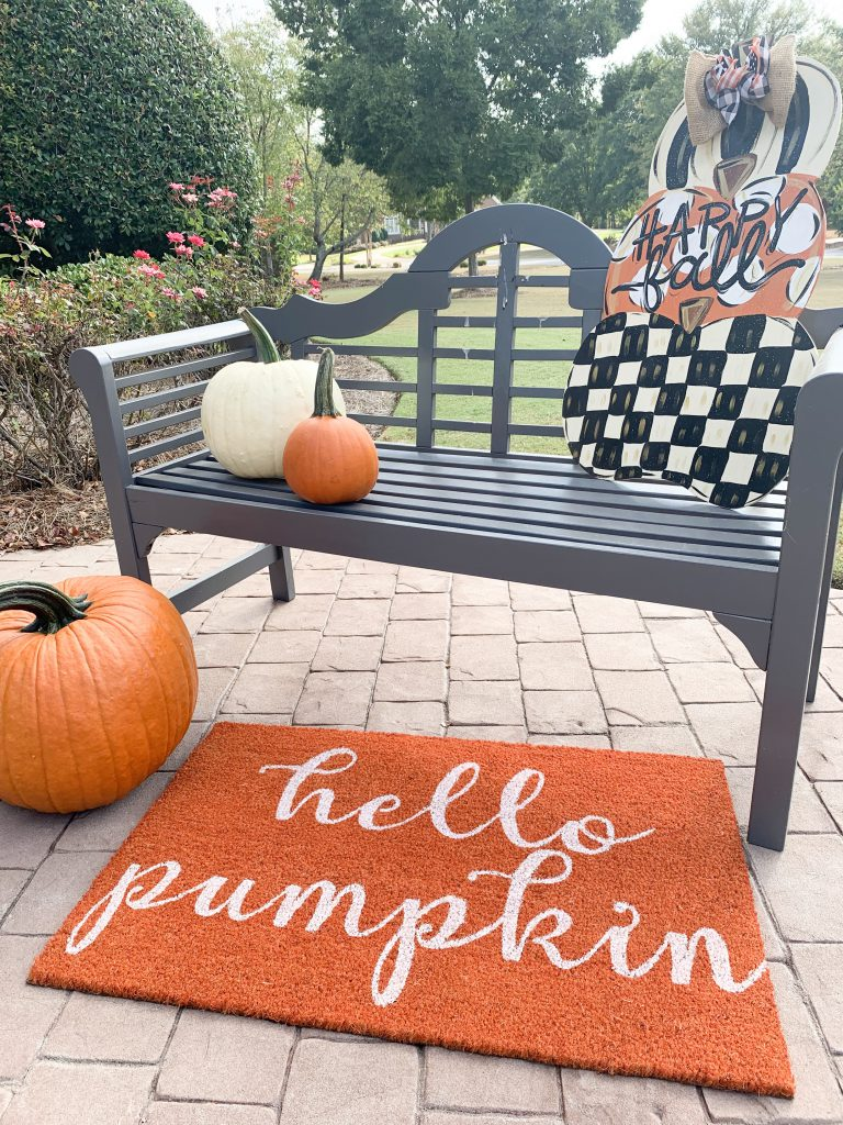 Hello Pumpkin orange and white mat from Mohawk Home on sale at Sams.com