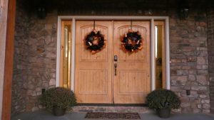Halloween wreaths on the front door