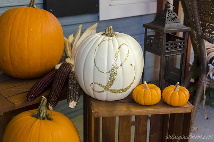 Monogram pumpkins from Holiday Market n More on Etsy