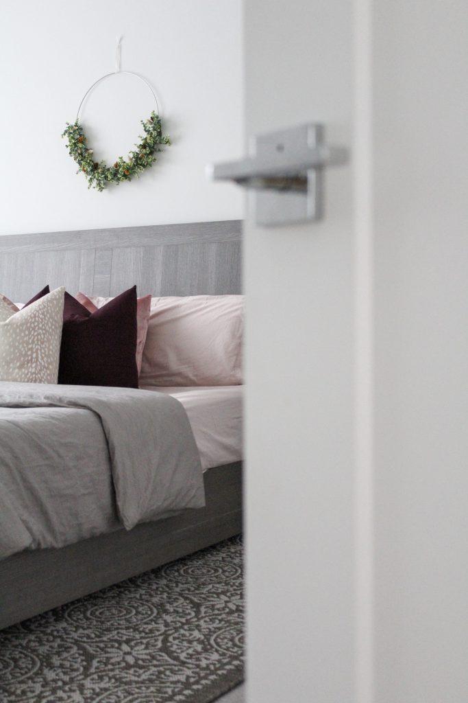 Master bedroom refresh including Mohawk Home area rug
