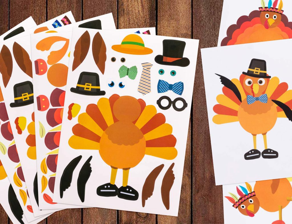 Make a turkey sticker set for the kids table at Thanksgiving