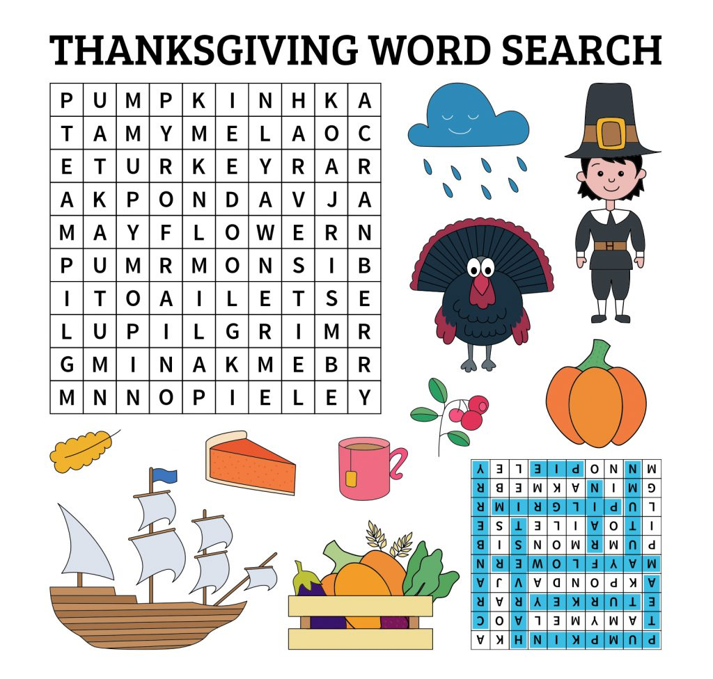 printable Thanksgiving word search for the kids table