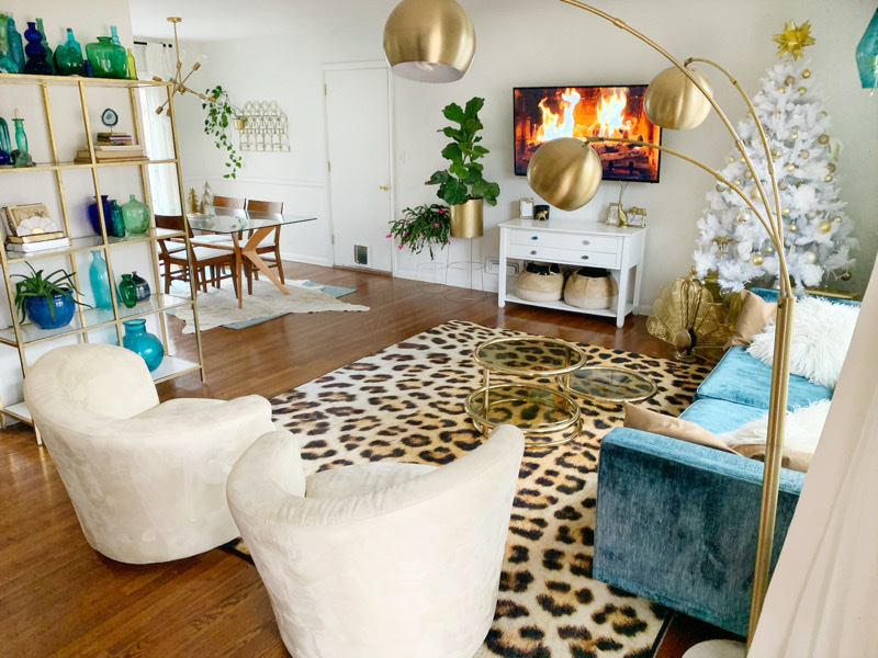 Mohawk Home's Cheetah Spots area rug in Blue Agate Abode's holiday home