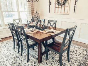 Christmas tablescape featuring Mohawk Home Estelle area rug in Oyster